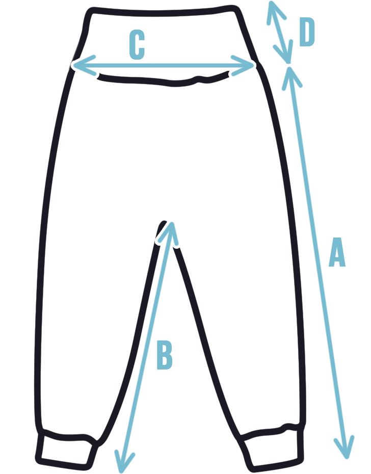 Rozměry dětských softshellových kalhot s vysokým pasem